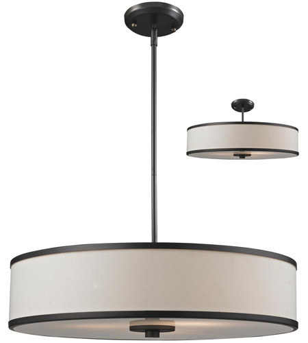 Z-Lite 165-24 Cameo 3 Light 24 inch Factory Bronze Pendant Ceiling Light in Creme and Bronze  photo