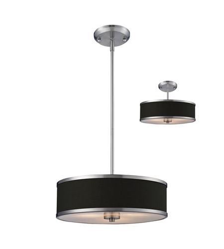 Z-Lite Cameo 3 Light Convertible Pendant in Chocolate/Brushed Nickel 167-16 photo