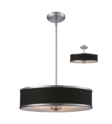 Z-Lite Cameo 3 Light Convertible Pendant in Chocolate/Brushed Nickel 167-20 photo
