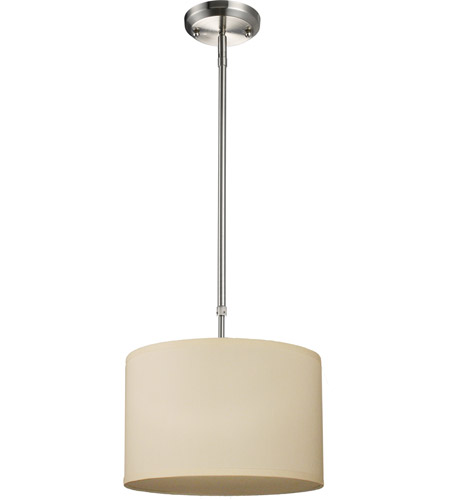 Z-Lite 171-12C Albion 1 Light 12 inch Brushed Nickel Pendant Ceiling Light in Off White and Brushed Nickel, Off White Linen Fabric photo
