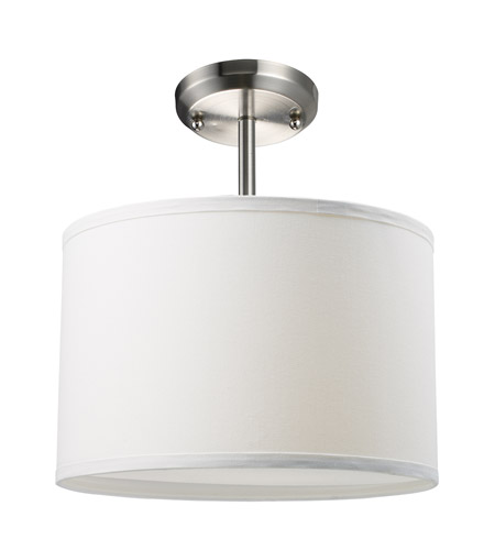 Z-Lite Albion 1 Light Semi-Flush Mount in White/Brushed Nickel 171-12W-SF photo