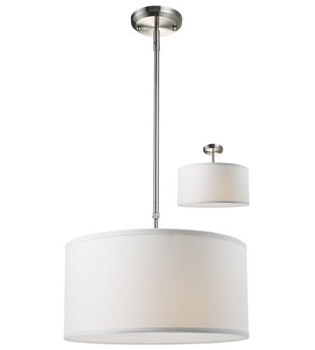 Z-Lite 171-16W-C Albion 3 Light 16 inch Brushed Nickel Pendant Ceiling Light in Brushed Nickel and White, White Linen Fabric photo