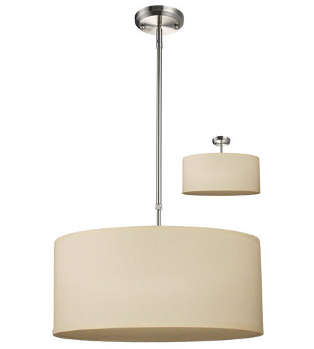 Z-Lite 171-20C-C Albion 3 Light 20 inch Brushed Nickel Pendant Ceiling Light in Off White and Brushed Nickel, Off White Linen Fabric photo