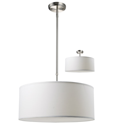 Z-Lite 171-20W-C Albion 3 Light 20 inch Brushed Nickel Pendant Ceiling Light in Brushed Nickel and White, White Linen Fabric photo