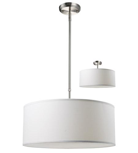 Z-Lite Albion 3 Light Pendant in White/Brushed Nickel 171-20W-C photo