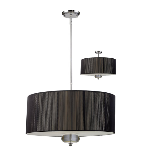 Z-Lite Soho 3 Light Pendant in Black/Chrome 172-24B-C photo