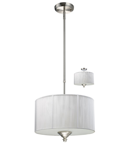 Z-Lite Manhattan 3 Light Pendant in Brushed Nickel/White 173-15W-C photo