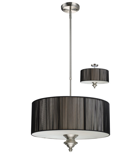 Z-Lite Manhattan 3 Light Pendant in Brushed Nickel/Black 173-20BK-C photo