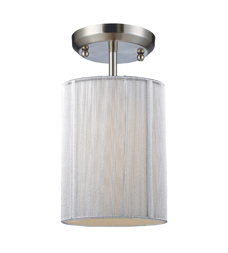 Z-Lite Manhattan 1 Light Semi-Flush Mount in Brushed Nickel/White 173-6W-SF photo