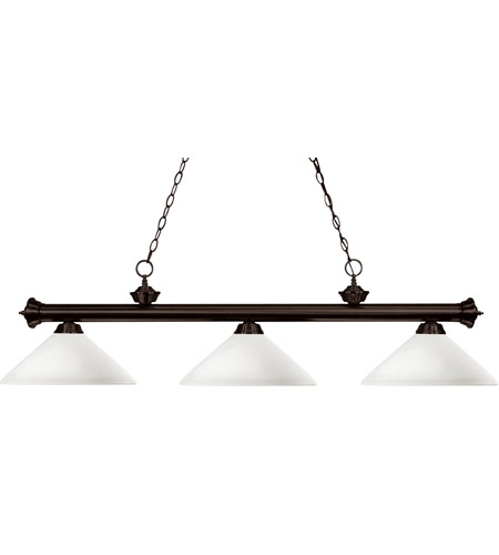 Z-Lite 200-3BRZ-AMO14 Riviera 3 Light 59 inch Bronze Billiard Ceiling Light in Matte Opal Angular photo
