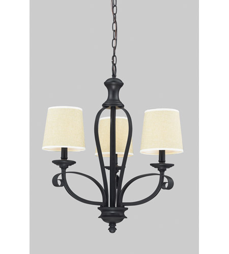 Z-Lite Charleston 3 Light Chandelier in Crme/Matte Back 2001-3 photo