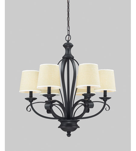 Z-Lite 2001-6 Charleston 6 Light 26 inch Matte Black Chandelier Ceiling Light photo