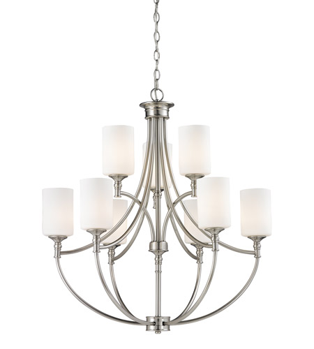 Z-Lite Cannondale 9 Light Chandelier in Brushed Nickel/Matte Opal 2102-9 photo