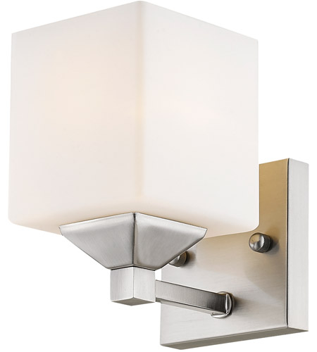 Z-Lite 2104-1V Quube 1 Light 6 inch Brushed Nickel/Matte Opal Vanity Wall Light in Brushed Nickel and Matte Opal photo