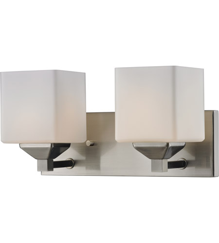 Z-Lite 2104-2V Quube 2 Light 17 inch Brushed Nickel Vanity Light Wall Light in Brushed Nickel and Matte Opal photo