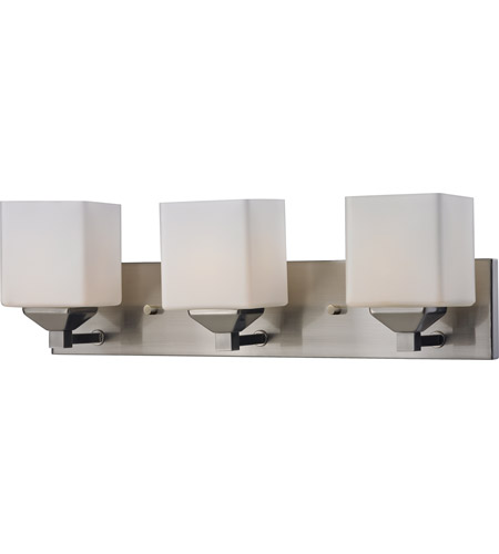 Z-Lite 2104-3V Quube 3 Light 24 inch Brushed Nickel Vanity Light Wall Light in Brushed Nickel and Matte Opal photo