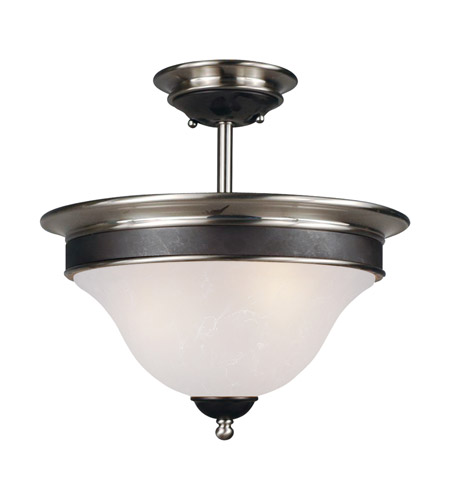 Z-Lite Dynasty 3 Light Semi-Flush Mount in Satin Nickel/Black 304SF photo