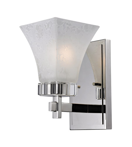 Z-Lite Pershing 1 Light Wall Sconce in Polished Nickel with White Watermark Glass 319-1S photo