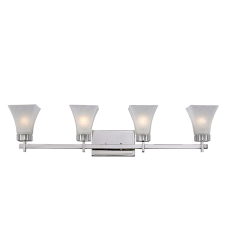 Z-Lite Pershing 4 Light Vanity in Polished Nickel with White Watermark Glass 319-4V photo