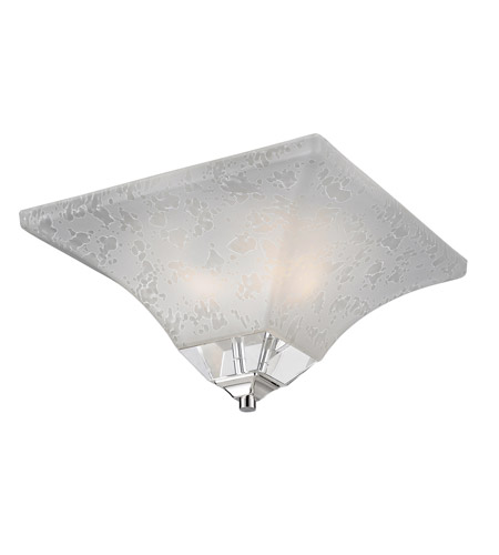 Z-Lite Pershing 2 Light Flush Mount in Polished Nickel with White Watermark Glass 319F-2 photo
