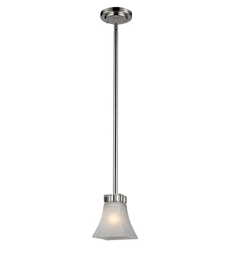 Z-Lite Pershing 1 Light Mini Pendant in Polished Nickel with White Watermark Glass 319MP photo