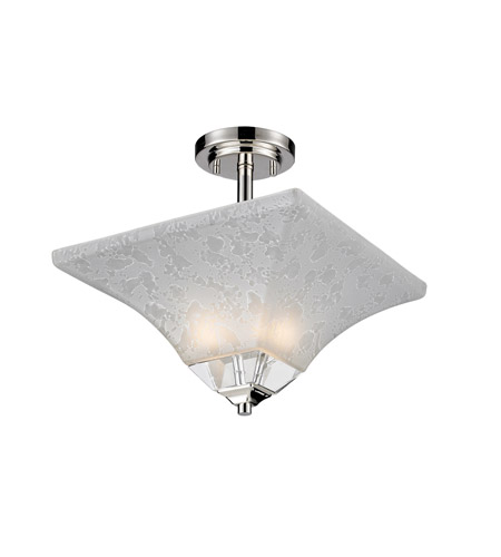 Z-Lite Pershing 2 Light Semi-Flush Mount in Polished Nickel with White Watermark Glass 319SF photo