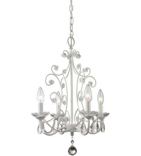 Z-Lite 419WH Princess 4 Light 15 inch Gloss White Mini Chandelier Ceiling Light photo