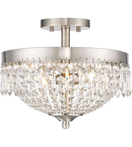 Z-Lite 431SF3-BN Danza 3 Light 13 inch Brushed Nickel Semi Flush Mount Ceiling Light photo thumbnail