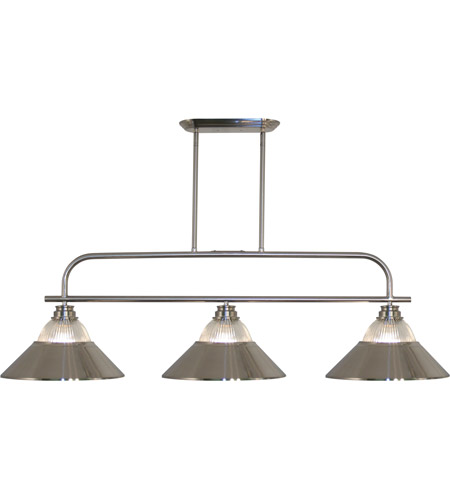 Z-Lite 437-3BN-RBN Annora 3 Light 52 inch Brushed Nickel Island/Billiard Ceiling Light in 14.25, Clear Ribbed and Brushed Nickel photo
