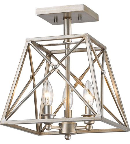 Z-Lite 447SF-AS Tressle 3 Light 11 inch Antique Silver Semi Flush Mount Ceiling Light photo