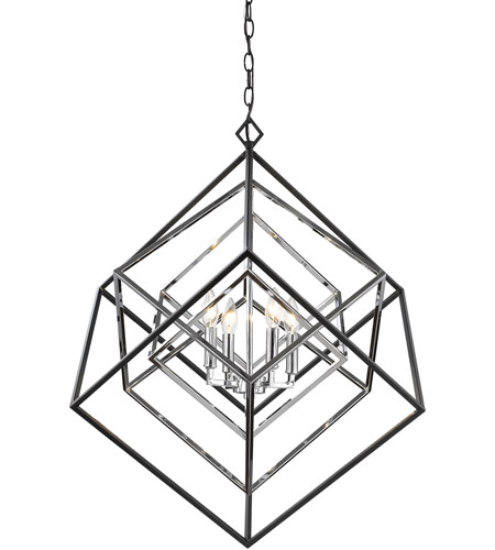 Z Lite 457 4ch Mb Euclid 4 Light 30 Inch Chrome And Matte Black Chandelier Ceiling