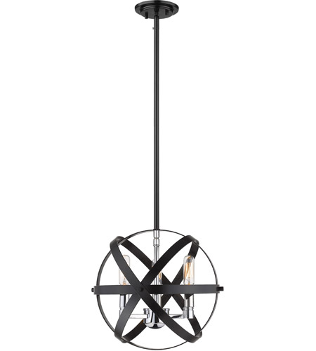 Hammered Black and Chrome Cavallo Pendants