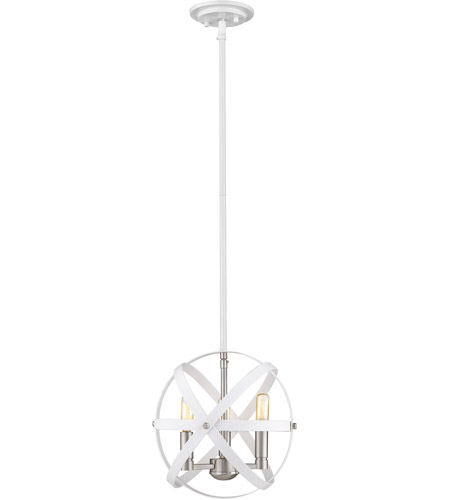 Z-Lite 463-12HWH-BN Cavallo 3 Light 12 inch Hammered White and Brushed Nickel Chandelier Ceiling Light photo