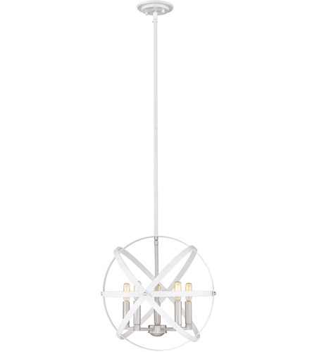 Z-Lite 463-18HWH-BN Cavallo 5 Light 18 inch Hammered White and Brushed Nickel Chandelier Ceiling Light photo