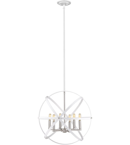 Z-Lite 463-24HWH-BN Cavallo 6 Light 24 inch Hammered White and Brushed Nickel Chandelier Ceiling Light photo