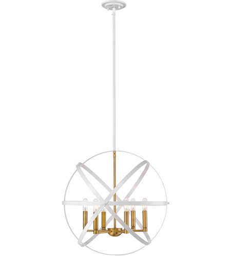 Z-Lite 463-24HWH-OBR Cavallo 6 Light 24 inch Hammered White and Olde Brass Pendant Ceiling Light photo