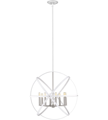 Z-Lite 463-30HWH-BN Cavallo 8 Light 30 inch Hammered White and Brushed Nickel Chandelier Ceiling Light photo