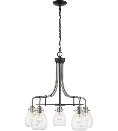 Z-Lite 466-5MB-BN Kraken 5 Light 25 inch Matte Black and Brushed Nickel Chandelier Ceiling Light photo
