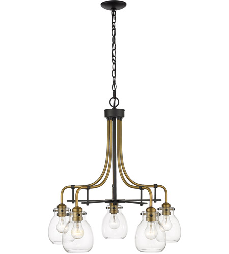 Z-Lite 466-5MB-OBR Kraken 5 Light 25 inch Matte Black and Olde Brass Chandelier Ceiling Light photo
