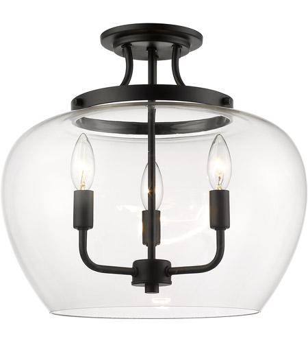 Z Lite 473sf Mb Joliet 3 Light 16 Inch Matte Black Semi Flush Mount Ceiling Light