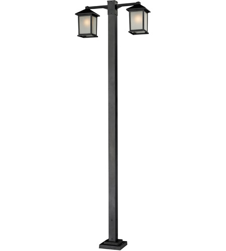 Z-Lite 507-2-536P-BK Holbrook 2 Light 99 inch Black Outdoor Post in White Seeded Glass photo
