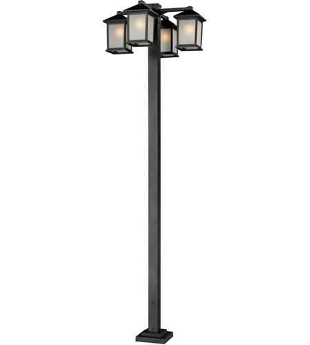 Z-Lite 507-4-536P-BK Holbrook 4 Light 99 inch Black Outdoor Post in White Seeded Glass photo