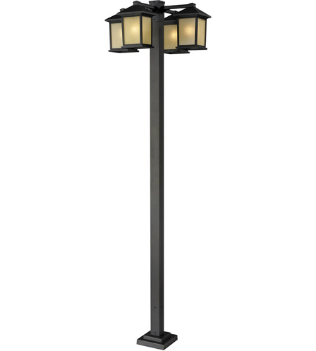 Z-Lite 507-4-536P-ORB Holbrook 4 Light 99 inch Oil Rubbed Bronze Outdoor Post Light in Tinted Seedy photo
