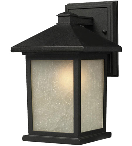 Z-Lite 507B-BK Holbrook 1 Light 16 inch Black Outdoor Wall Sconce in White Seeded Glass photo