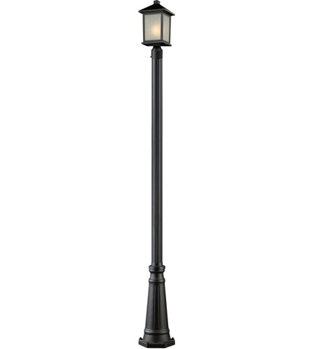 Z-Lite 507PHM-519P-BK Holbrook 1 Light 110 inch Black Outdoor Post in White Seeded Glass photo