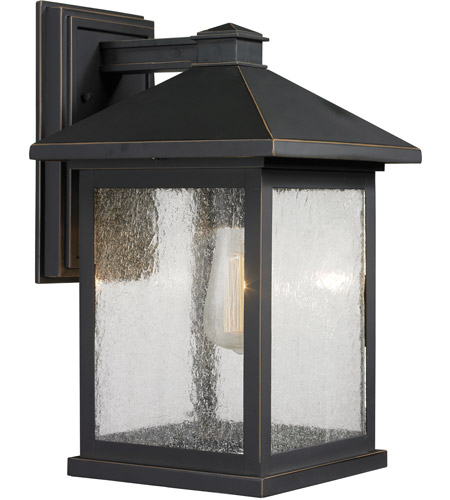 Z-Lite 531B-ORB Portland 1 Light 16 inch Oil Rubbed Bronze Outdoor Wall Sconce in Clear Seedy Glass photo