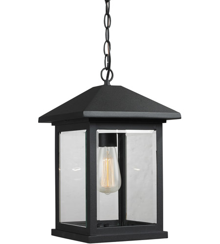 Z-Lite 531CHB-BK Portland 1 Light 10 inch Black Outdoor Chain Mount Ceiling Fixture in Clear Beveled Glass photo