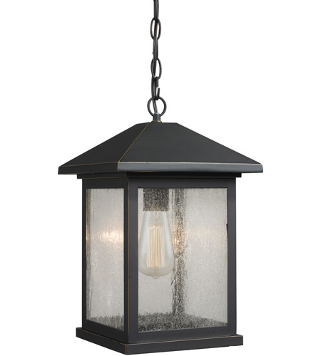 Z-Lite 531CHB-ORB Portland 1 Light 10 inch Oil Rubbed Bronze Outdoor Chain Mount Ceiling Fixture in Clear Seedy Glass photo