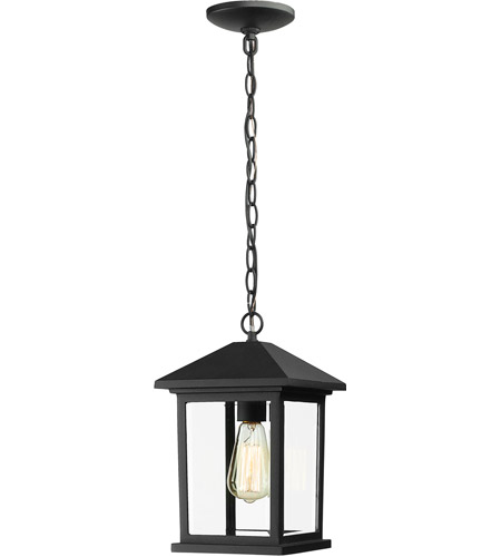 Z-Lite 531CHM-BK Portland 1 Light 8 inch Black Outdoor Chain Mount Ceiling Fixture in Clear Beveled Glass photo