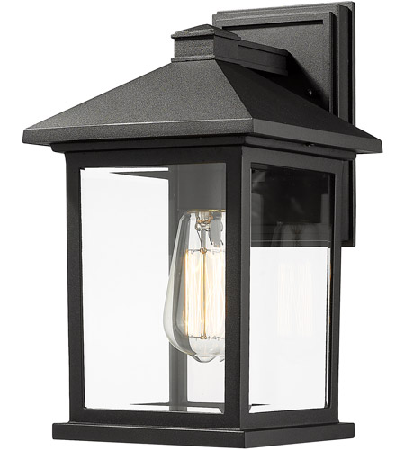 Z-Lite 531M-BK Portland 1 Light 14 inch Black Outdoor Wall Sconce in Clear Beveled Glass photo